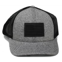 Richardson Heather Grey/Black Mesh Back Trucker Ball Cap with Faux Leather Patch 115CH-BHB-A