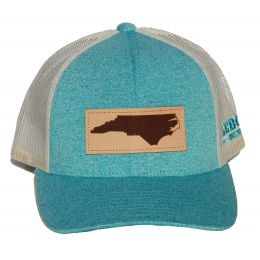 Richardson Heather Teal/Cream Mesh Back Trucker Ball Cap with Leather Patch 115CH-GTHBI-NC