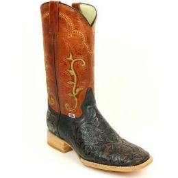 Rockin Leather Brown and Rustic Orange Tooled Cowhide Leather Western Boot 1190