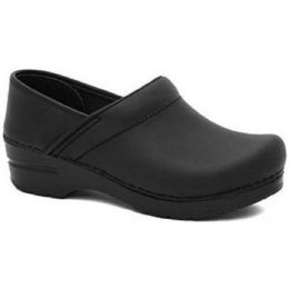Narrow Professional Black Oiled Closed-Back Clogs Dansko Womens Shoes