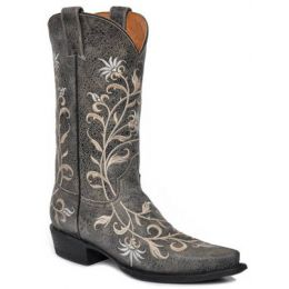 12-021-6105-0516 Cream Floral Snip Toe Stetson Womens Cowboy Boots