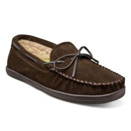 Florsheim Chocolate Cozzy Moc Toe Tie Slipper 12184-202