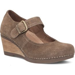Dansko Sandra Taupe Suede Leather Womens Wedge Shoes