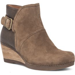 Dansko Shirley Taupe Suede Leather Womens Wedge Heel Boots 1252-151200
