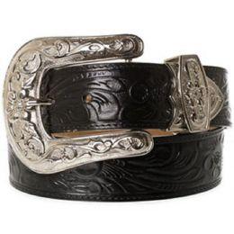 125BK Black Floral Hand Tooled Basic Western 3D Womens Belts