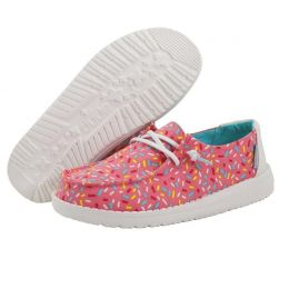 Hey Dude Pink Sprinkles Wendy Youth Print Casual Shoes 130125037