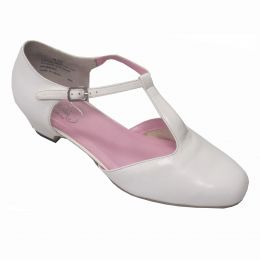 1354 White Classic T-Strap 1.5inch Heel Womens Square Dance Shoes