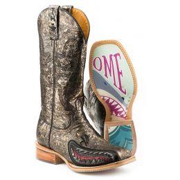 Karman/Roper Jawsome Shark Sole Womens Square Toe Western Boots 14-021-0077-1387 YE