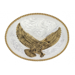 Montana Silversmith Silver Engraved Western Belt Buckle with Large Eagle 1460-MS