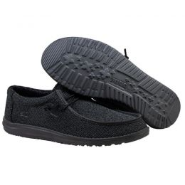 Hey Dude Total Black Wally Sox Micro Mens Shoes 150204942