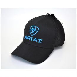M&F Western Ariat Black/Blue Flex Fit Ball Cap 1502301