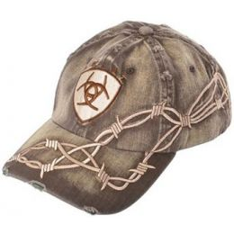 1509802 Distressed Brown With Barbwire Embroidery Ariat Mens Ball Cap