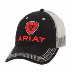 Ariat Black and Red Mens Logo Mesh Ball Cap 1515866