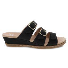Dansko Allyson Black Milled Nubuck Womens Slide On Sandals 1530-470300