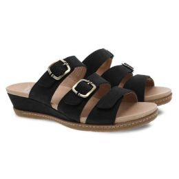 Dansko Allyson Black Milled Nubuck Womens Slide On Sandals 1530-470300
