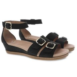 Dansko Astrid Black Milled Nubuck Womens Low Wedge Sandals 1532-470300