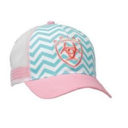 1543430 Pink Chevron Mesh Back Ariat Ball Cap