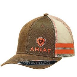 Ariat Brown Mens Oilskin Cap with Off Set Logo 1595002