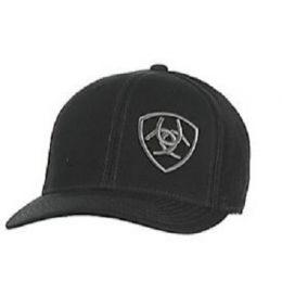 Ariat Black with Grey Mens Logo Mesh Snap Back Cap 1597801