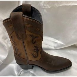 Pocono Kids Western Cowboy Boots Brown Shaft With Chestnut Foot 1642BRN