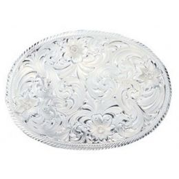 1840 Oval Silver Engraved Western Belt Buckle with Etched Trim by Montana Silversmith