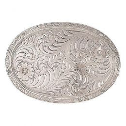 Montana Silversmiths Oval Engraved Western Belt Buckle 1850