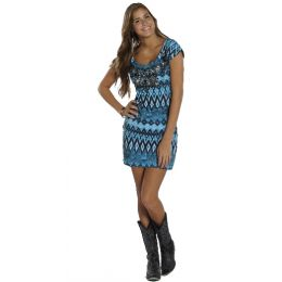 197136 Blue Knit Cap Sleeve Rock & Roll Cowgirl Western Womens Dress