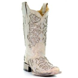 Corral White Glitter & Crystals Womens Square Toe Western Boots A3397