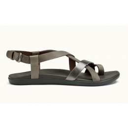 Olukai Charcoal/Pewter 'Upena Leather Womens Sandals 20288-2673