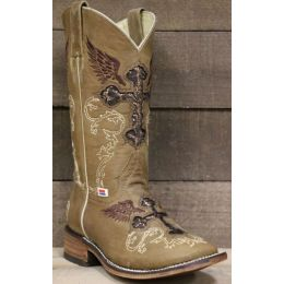 RockinLeather Womens Brown Square Toe Western Boot 2108