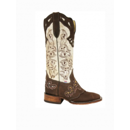 RockinLeather Handcrafted Genuine Cowhair Womens Leather Boots with Overlay 2157