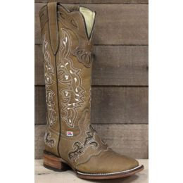RockinLeather Womens Tall Brown on Brown Overlay Western Boot 2158