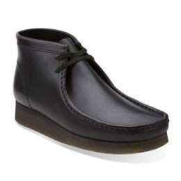 Clarks Wallabee Black Leather Mens Casual 26103666