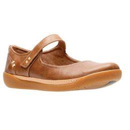 Clarks Dark Tan Leather Un Haven Strap Womens Comfort Shoes 26133636