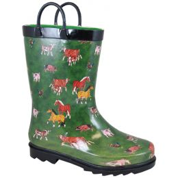 Smoky Mountain Green Horse Waterproof Kids Rain Boots 2769