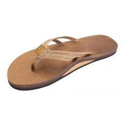Rainbow Sandpiper Buckskin Luxury Leather Single Layer Double Strap Womens Sandals 301ALDNS