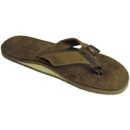 Rainbow Single Layer Dark Brown Leather Mens Sandals 301ALTSO-DKBR-M