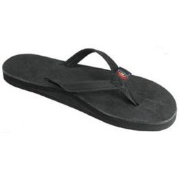 301ALTSN-PBLK-L Black Single Layer Narrow Strap Rainbow Ladies Sandals