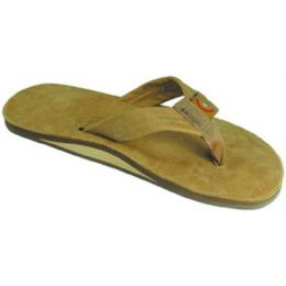 Sierra Brown Single Layer Wide Strap Rainbow Ladies Sandals