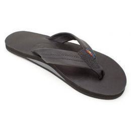 Black Leather Single Layer With Arch Support Rainbow Ladies Sandals