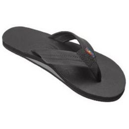 Rainbow Single Layer Black Leather Mens Sandals 301ALTSO-TTBKM