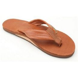 Tan Leather Single Layer With Arch Support Rainbow Ladies Sandals