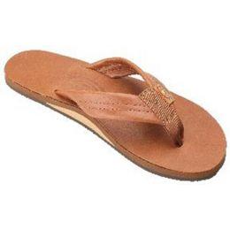 Rainbow Single Layer Brown Leather Mens Sandals 301ALTSO-TTTNM