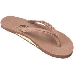 Flirty Braidy Dark Brown Braided Strap Rainbow Womens Sandals