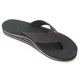 Black Hemp Wide Strap Double Layer Arch Support Rainbow Womens Sandals