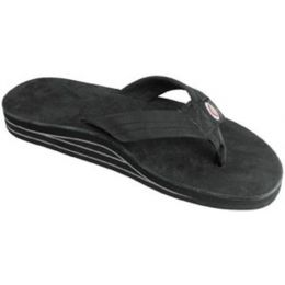302ALTSO-PBLK-L Black Double Layer Wide Strap Ladies Rainbow Sandals