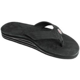 Rainbow Black Leather Double Layer Wide Strap Mens Sandals