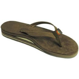 302ALTSO-DKBR-L Blackforest Brown Double Layer Wide Strap Ladies Rainbow Sandals