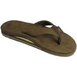 Rainbow Double Layer Dark Brown Leather Mens Sandals 302ALTSO-DKBR-M