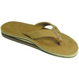 Sierra Brown Double Layer Wide Strap Ladies Rainbow Sandals